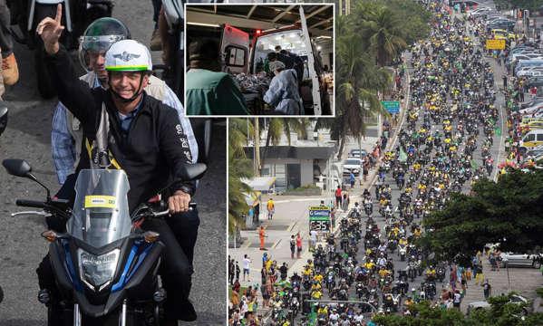 رژه خیابانی رییس جمهور برزیل همراه با هزاران موتورسوار در اعتراض به قرنطینه + ویدیو