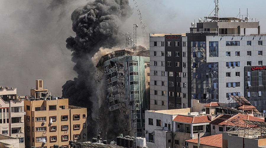 تخریب ساختمان آسوشیتد پرس در حمله موشکی اسرائیل + ویدئو