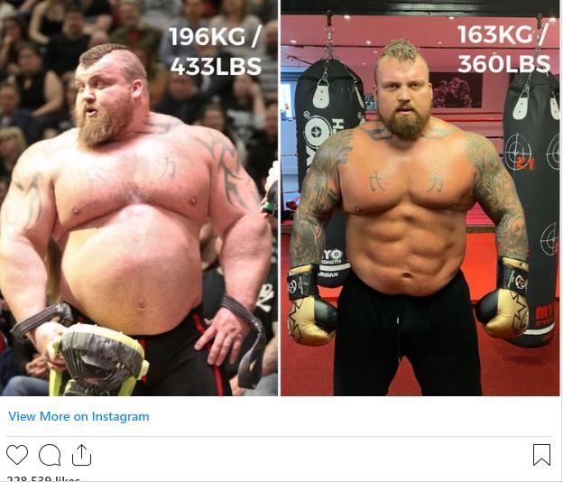 هافثور پی یرشون ملقب به کوهستان تصاویری از کاهش وزن قابل توجه خود را در صفحه اینستاگرامش منتشر کرده است