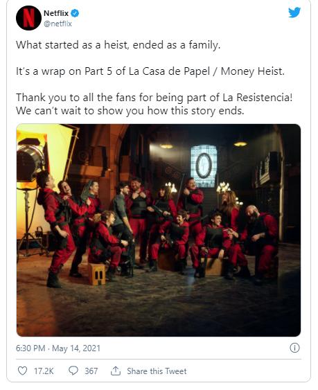 تصویری که به تازگی منتشر شده، تایید می کند که فیلمبرداری فصل پنجم و پایانی سریال Money Heist به پایان رسیده است.