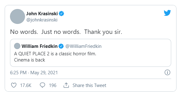 ویلیام فریدکین کارگردان فیلم مشهور The Exorcist در توییتر از دیدگاه مثبت خود به دنباله فیلم A Quiet Place 2 گفته است.