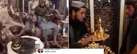 تصاویر جنگجویان طالبان در قصر مجلل عبدالرشید دوستم در مزار شریف + ویدیو