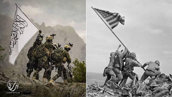 تمسخر پرچم آمریکا توسط گروه ویژه طالبان و انتقاد دونالد ترامپ از عقب نشینی جو بایدن
