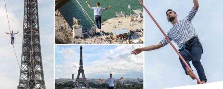 راهپیمایی ۶۰۰ متری و متهورانه بندباز مشهور فرانسوی از روی رودخانه سن + ویدیو