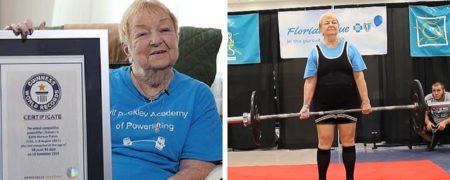 مادربزرگ ۱۰۰ ساله رکورد مسن ترین وزنه بردار قدرتی را شکست