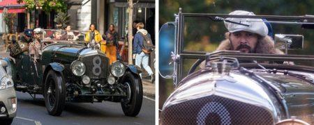 تصاویری دیدنی از لندن گردی جیسون موموآ با یک خودروی کلاسیک